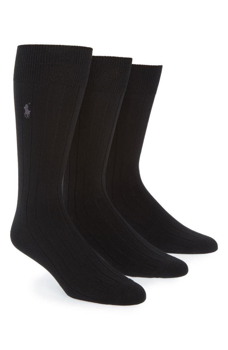 POLO RALPH LAUREN Ralph Lauren 3-Pack Supersoft Ribbed Socks, Main, color, 001