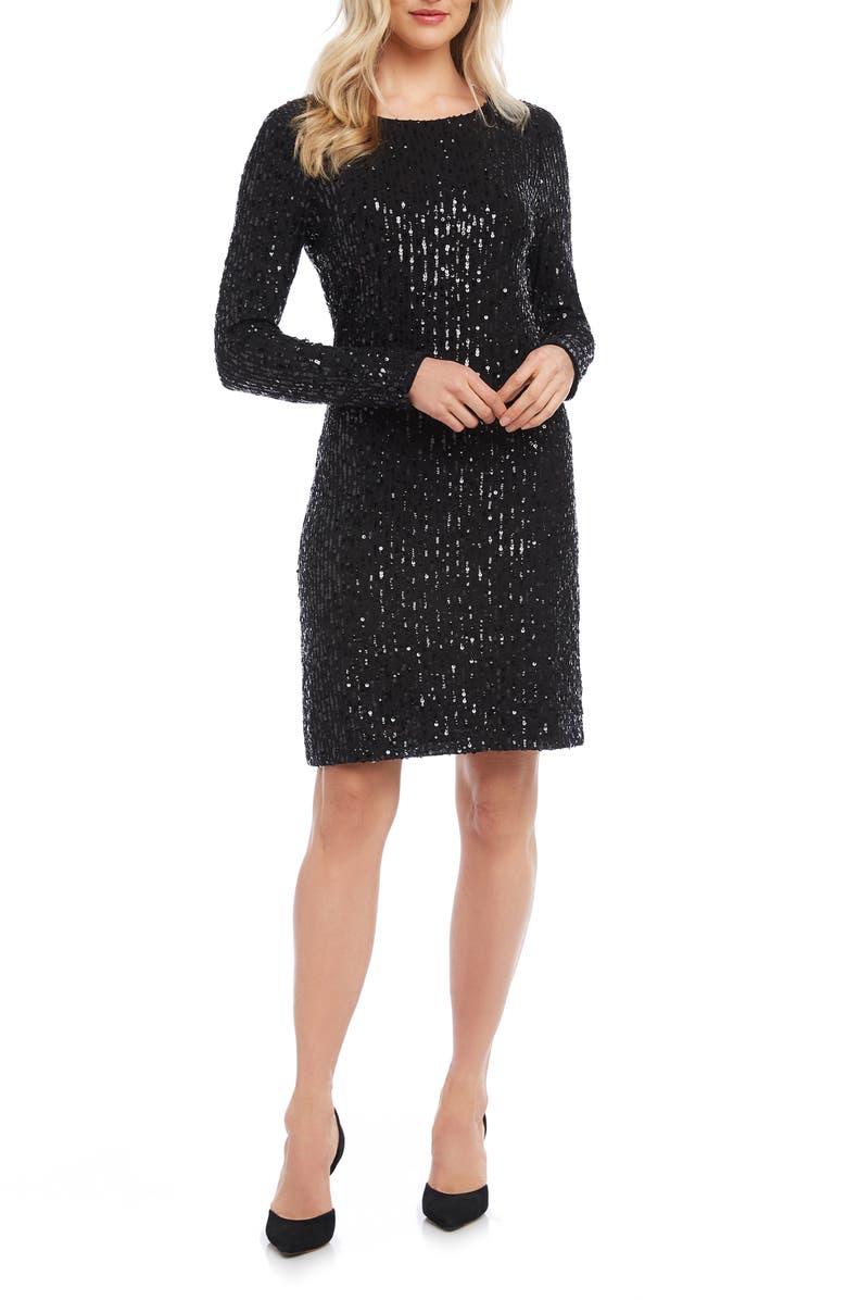 KAREN KANE Long Sleeve Sequin Sheath Dress, Main, color, 001