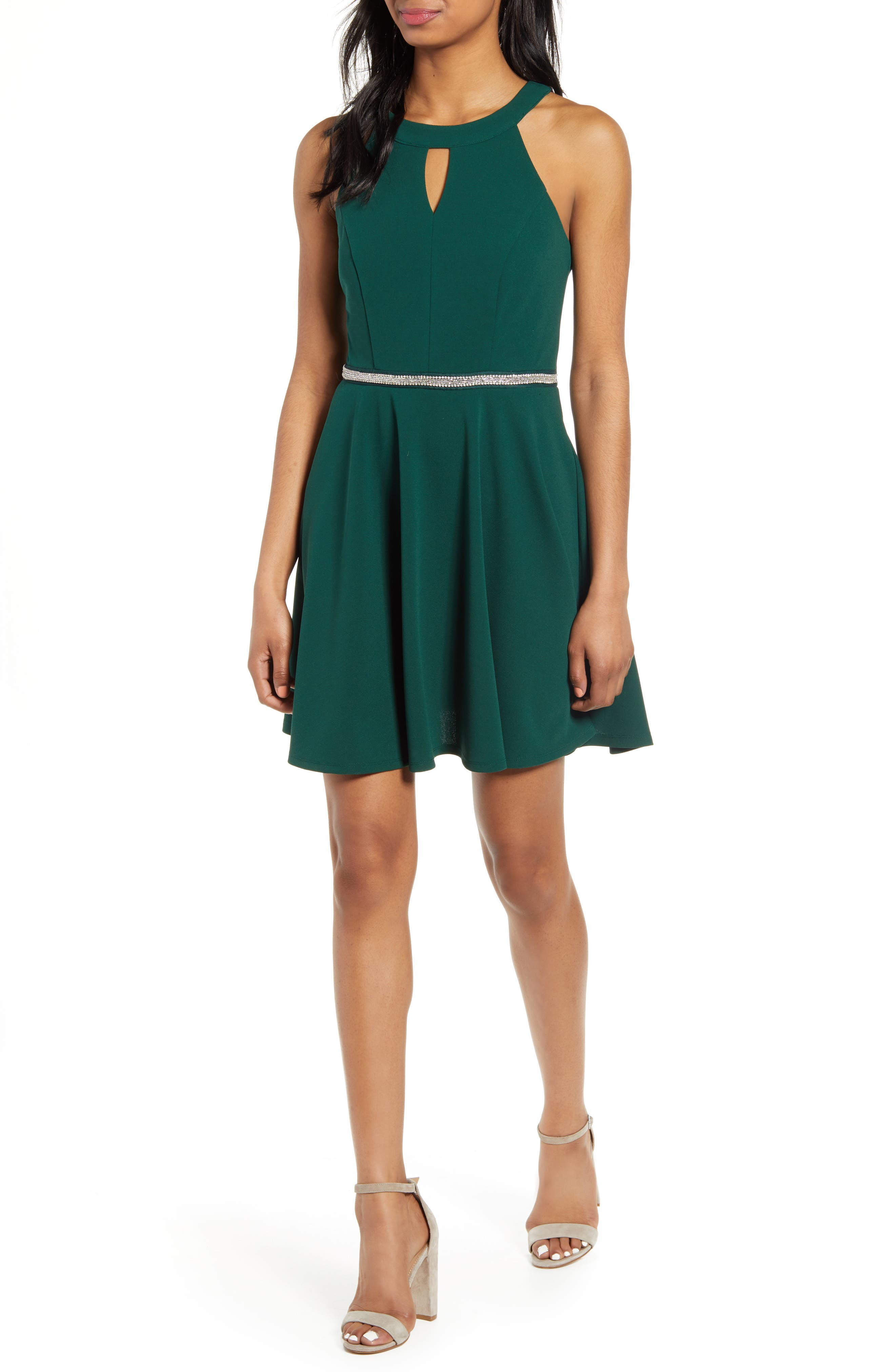 Love, Nickie Lew Keyhole Neck Crystal Trim Fit & Flare Dress, Green