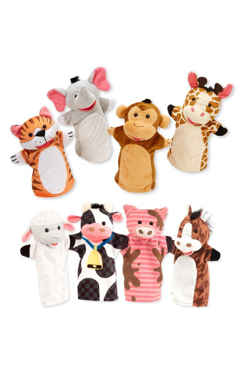 MELISSA & DOUG Farm Friends 8-Piece Hand Puppet Set, Main, color, MULTI