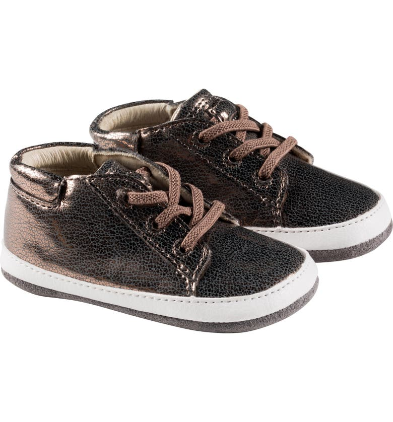 ROBEEZ<SUP>®</SUP> Quinn Metallic Crib Sneaker, Main, color, BRONZE
