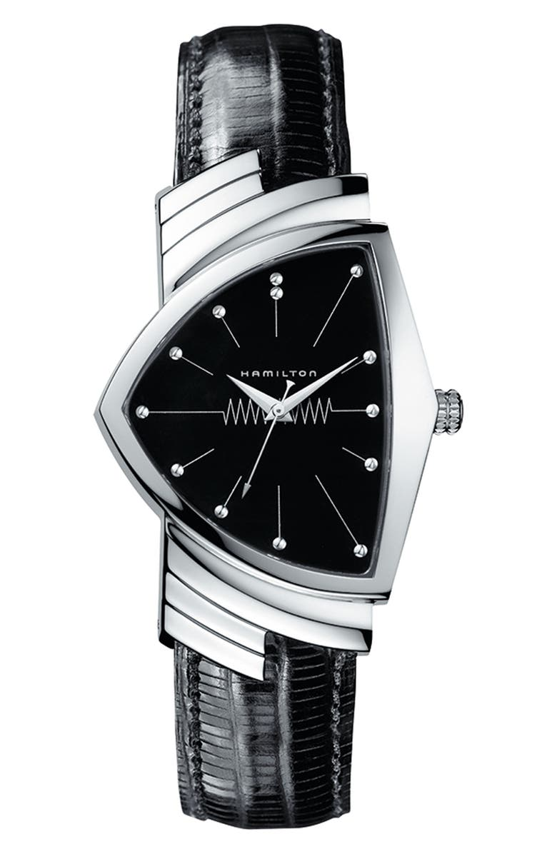 HAMILTON Ventura Leather Strap Watch, 32mm x 50mm, Main, color, BLACK/ SILVER