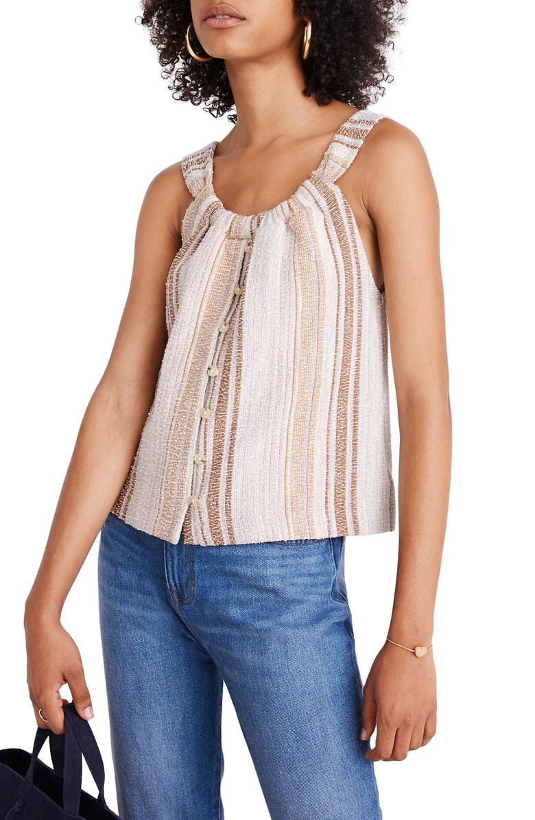 MADEWELL Texture & Thread Cates Stripe Button-Front Swing Tank, Main, color, PEARL IVORY PALMIER STRIPE