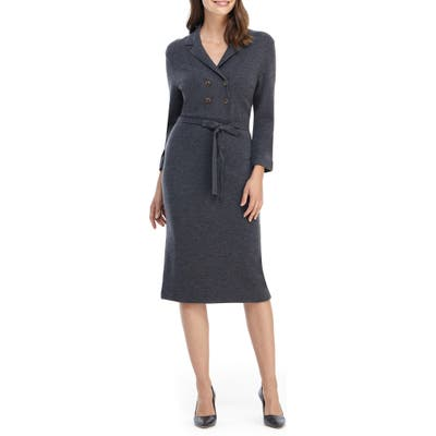 Gal Meets Glam Collection Monica Long Sleeve Midi Sweater Dress, Grey
