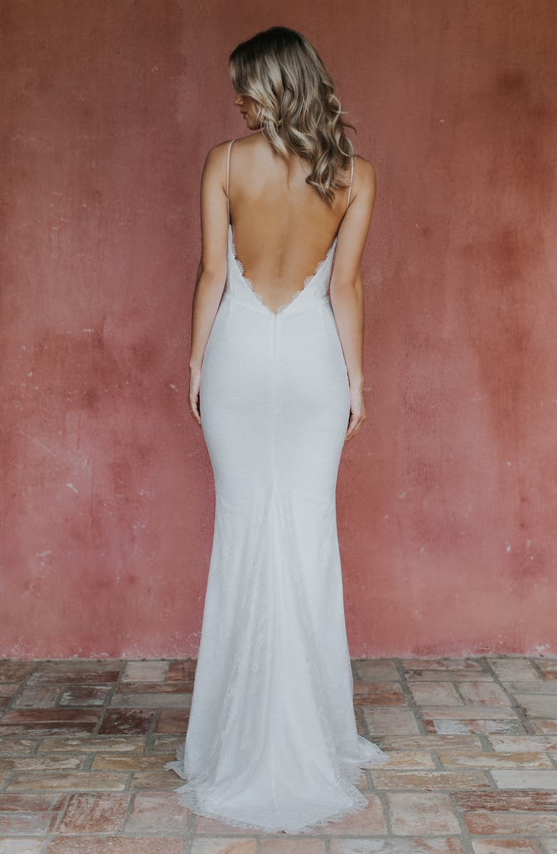 NOEL AND JEAN BY KATIE MAY Oh Baby Plunging Lace Trumpet Gown, Alternate, color, IVORY