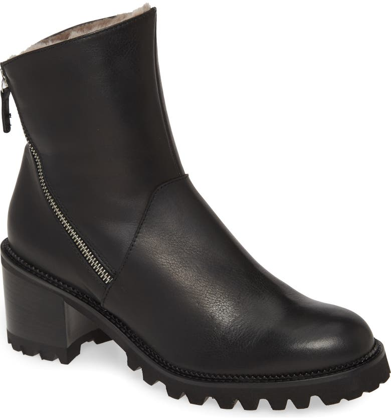 RON WHITE Wilandy Genuine Shearling Lined Weatherproof Bootie, Main, color, ONYX