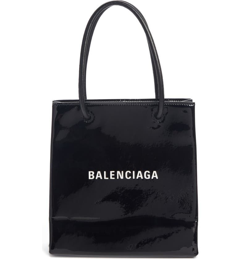 BALENCIAGA Extra Extra Small AJ Calfskin Shopper Tote, Main, color, BLACK