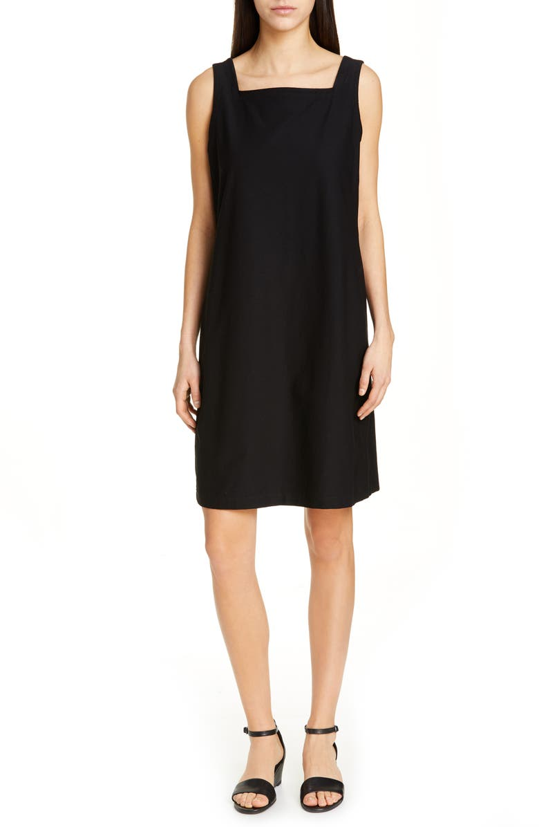 EILEEN FISHER Square Neck Shift Dress, Main, color, 001