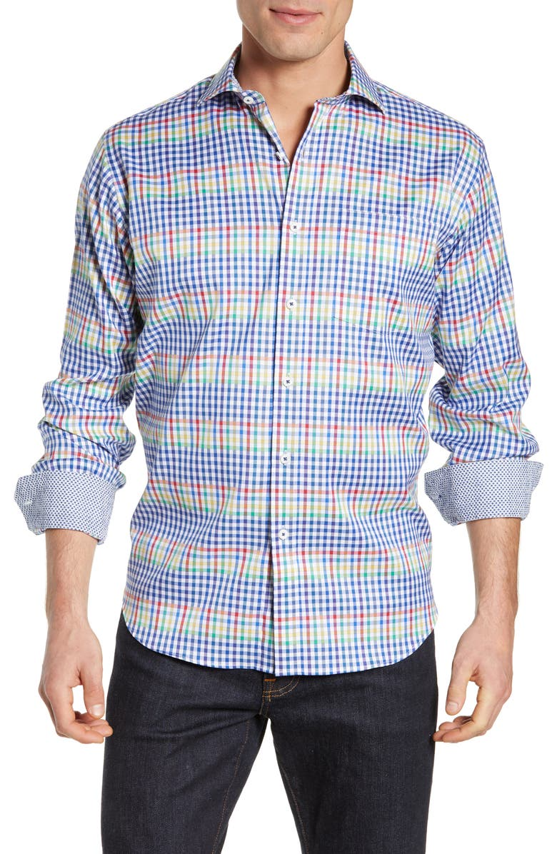 BUGATCHI Classic Fit Check Print Sport Shirt, Main, color, 411