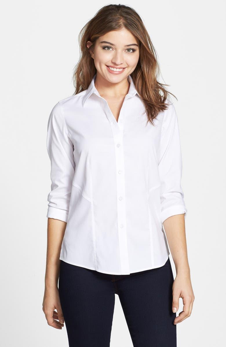 FOXCROFT Non-Iron Stretch Cotton Shirt, Main, color, 100