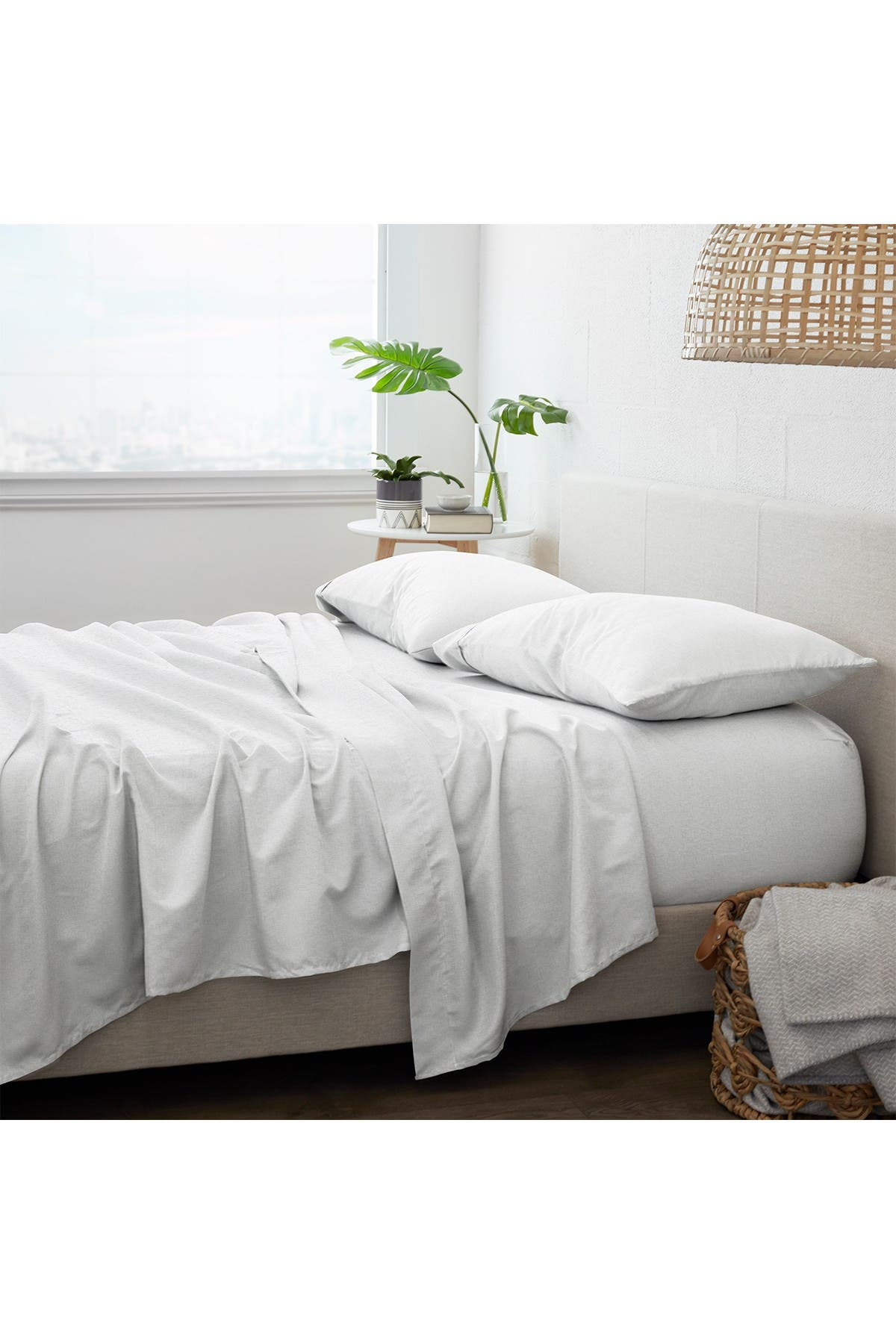 Ienjoy Home Home Collection Premium Ultra Soft Chambray Style Pattern 4 Piece Bed Sheets Set White Twin Nordstrom Rack