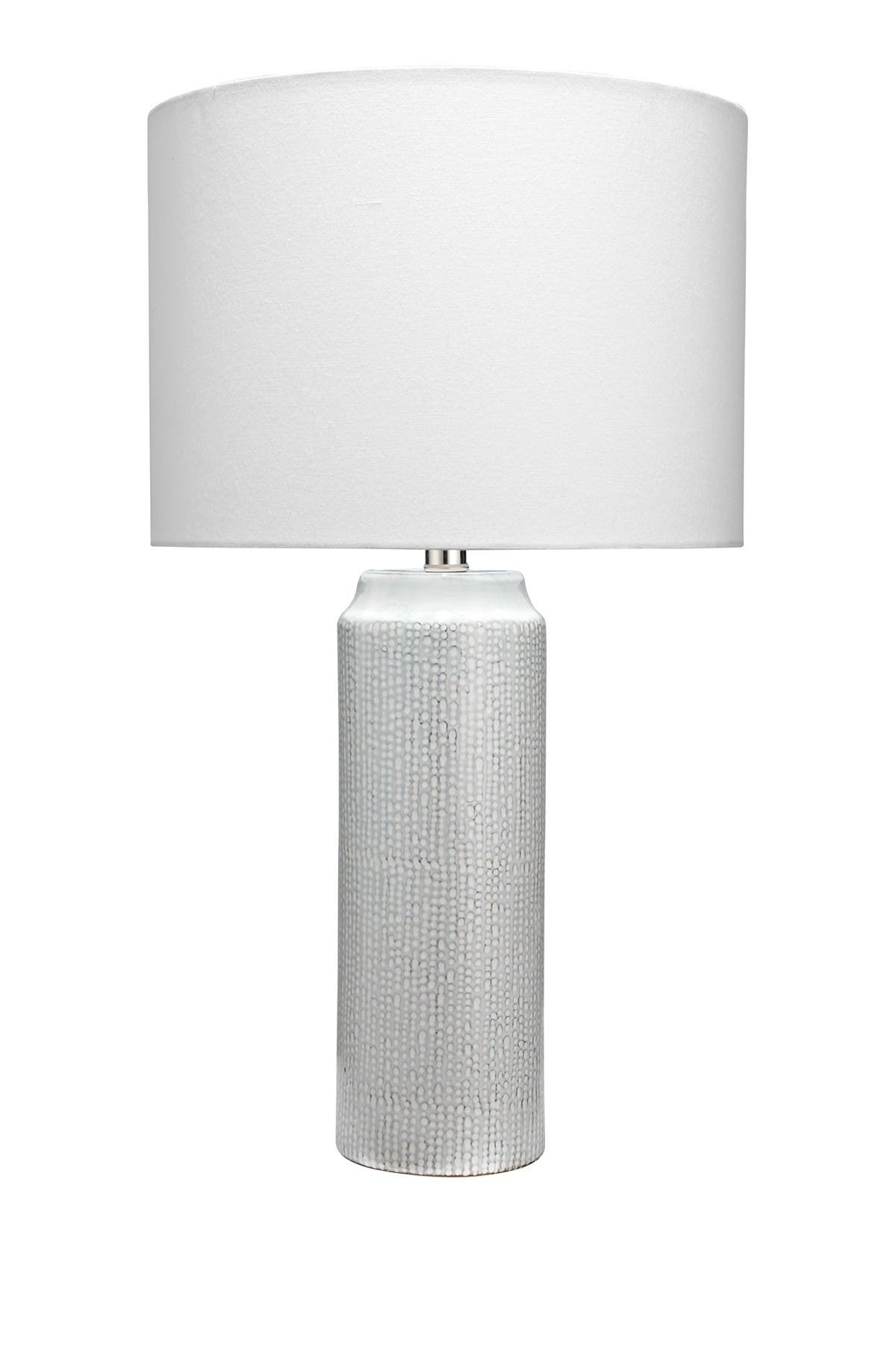 Jamie Young Lighting & lamps BELLA TABLE LAMP IN LIGHT BLUE PATTERNED CERAMIC WITH DRUM SHADE IN WHITE LINEN
