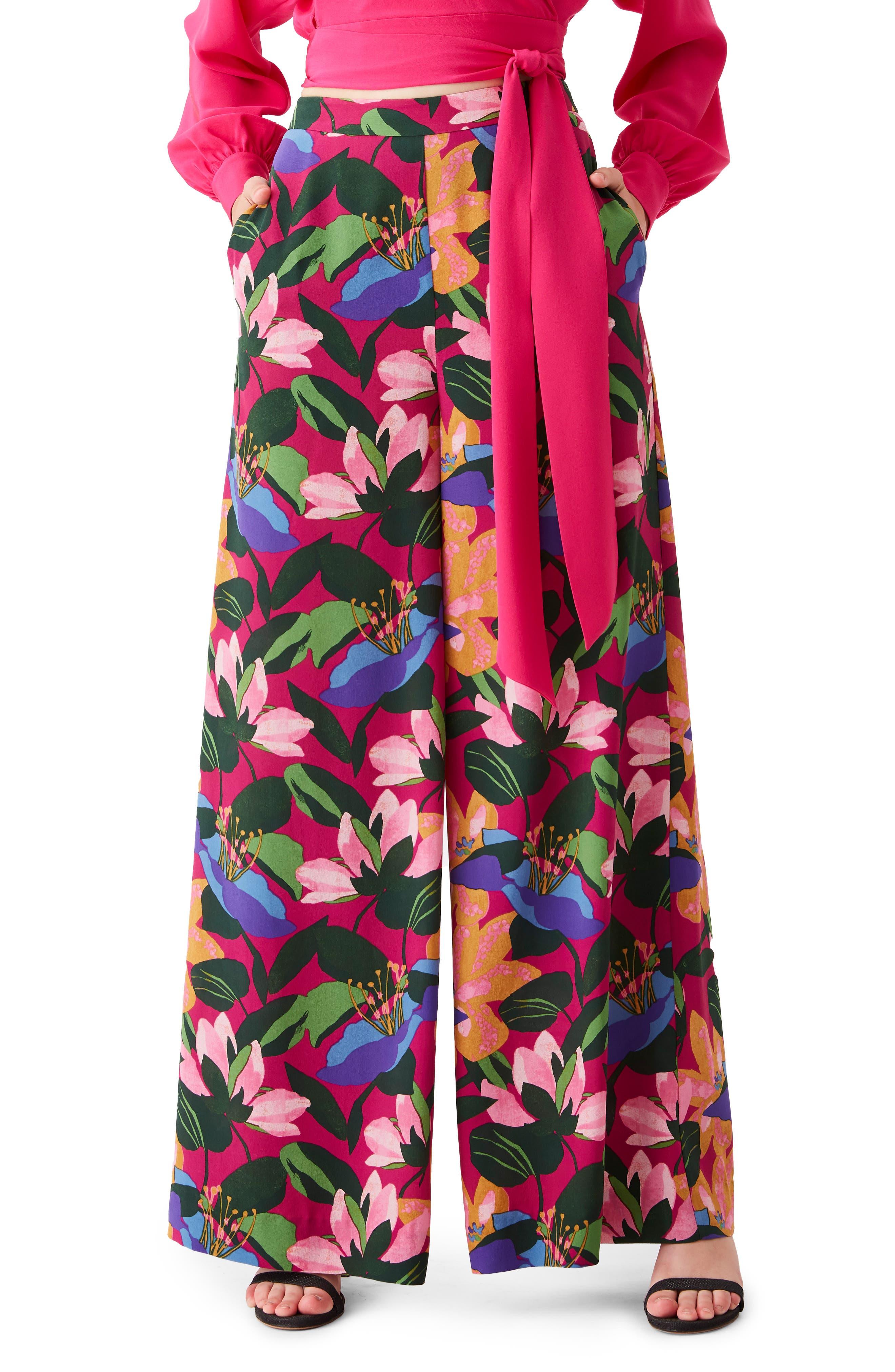 Pauline Floral Silk Wide Leg Pants