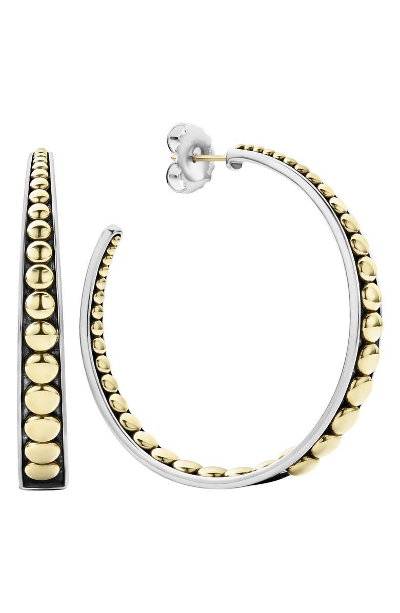 LAGOS Signature Caviar Hoop Earrings, Main, color, SILVER/ GOLD