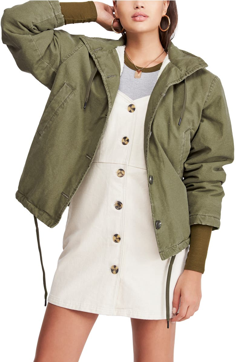 BDG URBAN OUTFITTERS Cypress Fleece Lined Military Jacket, Main, color, KHAKI