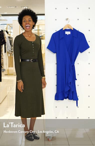 Ruffle Collared Crepe Wrap Dress, sales video thumbnail