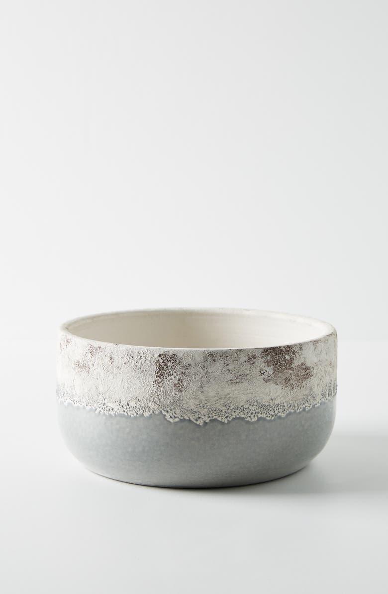ANTHROPOLOGIE Low & Wide Sea Foam Terra Cotta Pot, Main, color, LIGHT GREY