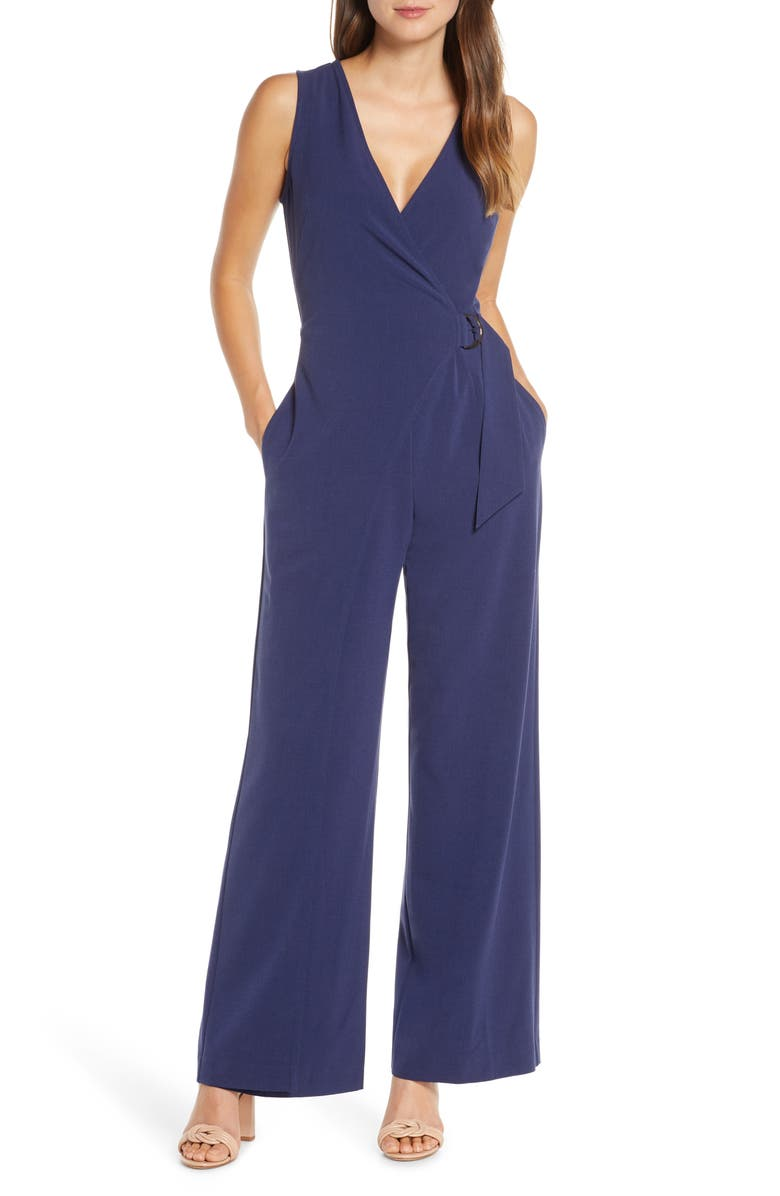 VINCE CAMUTO Faux Wrap Sleeveless Jumpsuit, Main, color, NAVY