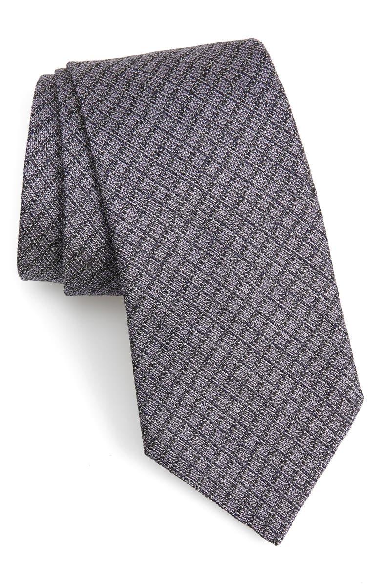 JOHN VARVATOS STAR USA Check Silk Tie, Main, color, PLUM