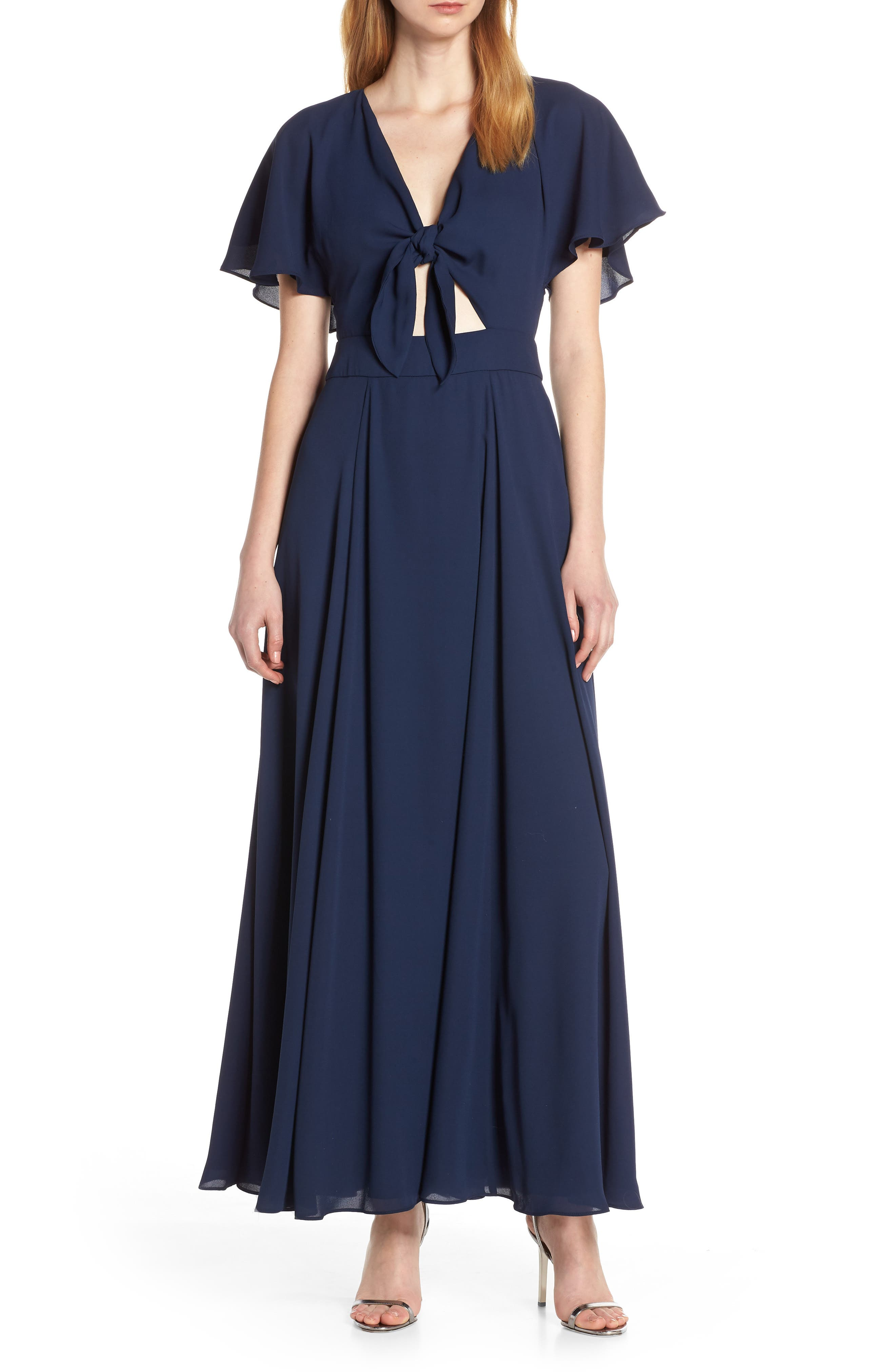 Fame And Partners Tie Front Georgette Dress, Blue