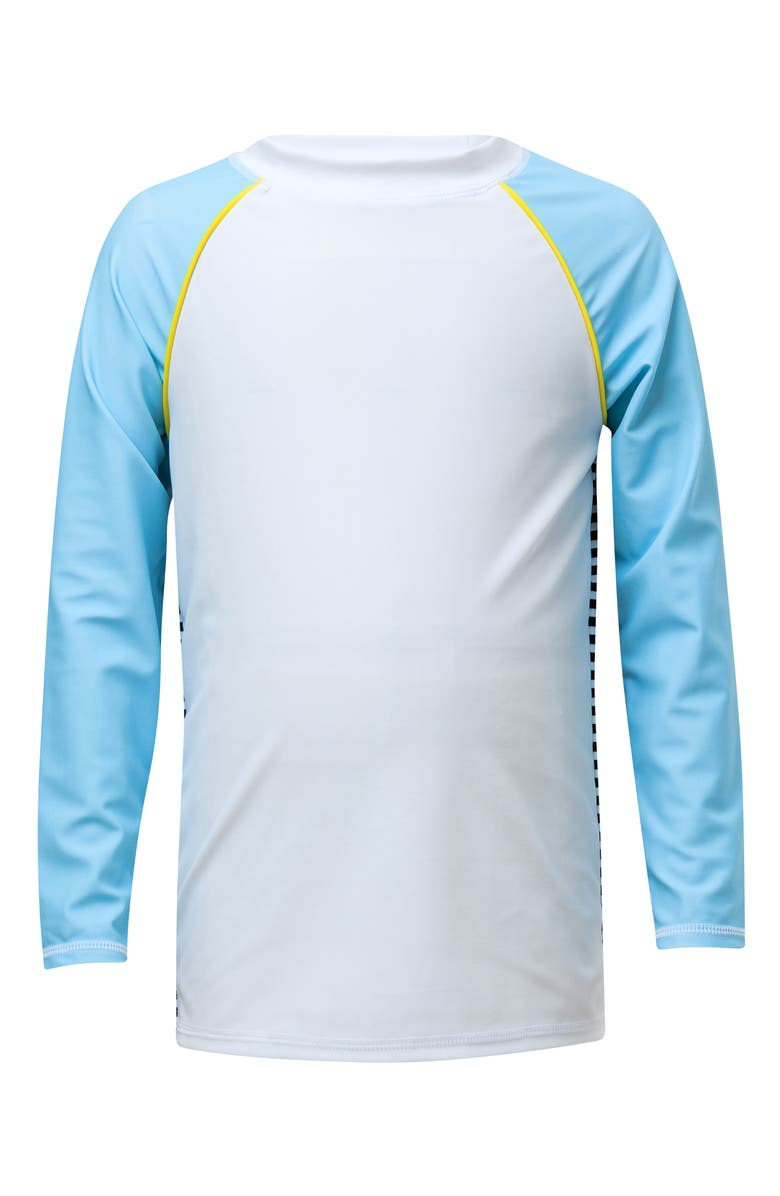 SNAPPER ROCK Back Stripe Rashguard, Main, color, WHITE BLUE BLACK