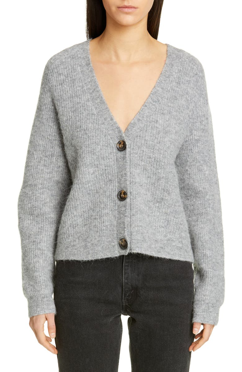 GANNI V-Neck Wool Blend Cardigan, Main, color, PALOMA MELANGE