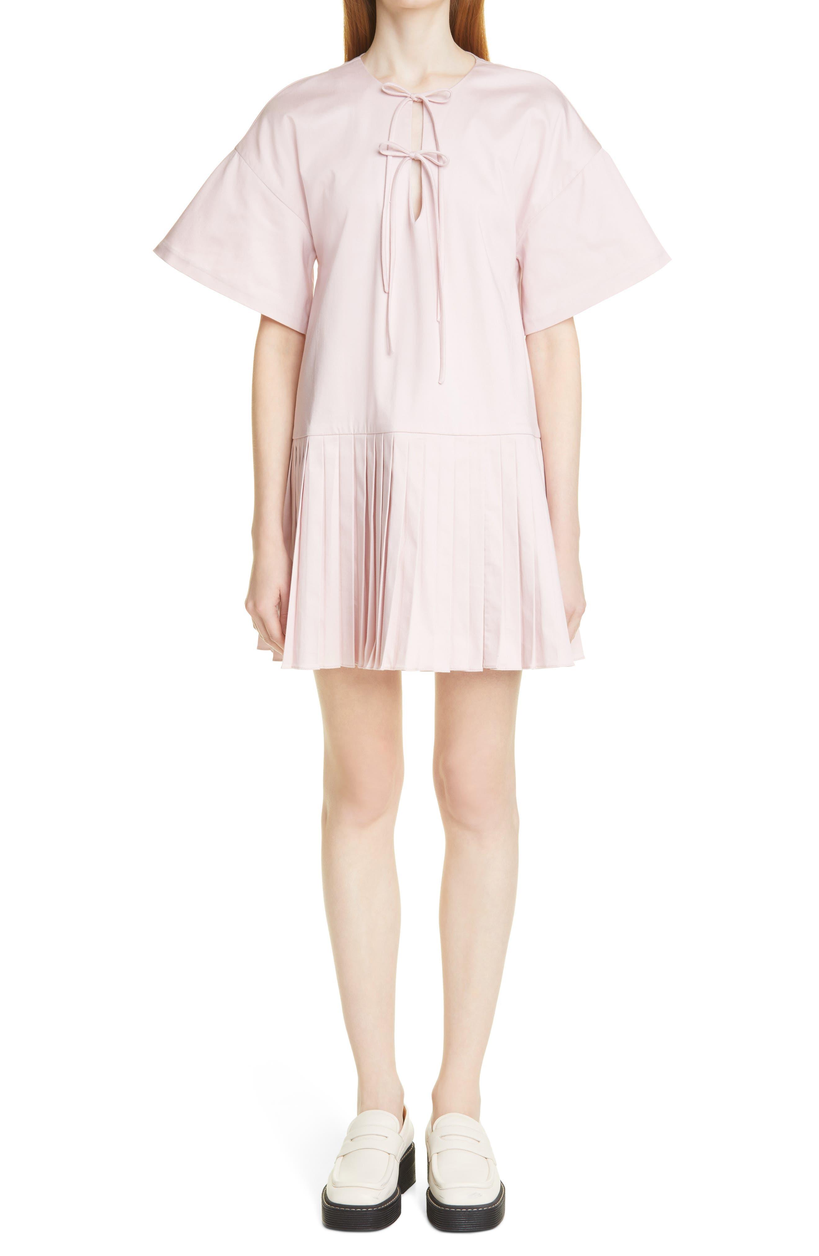 Anne Pleated Drop Waist Minidress