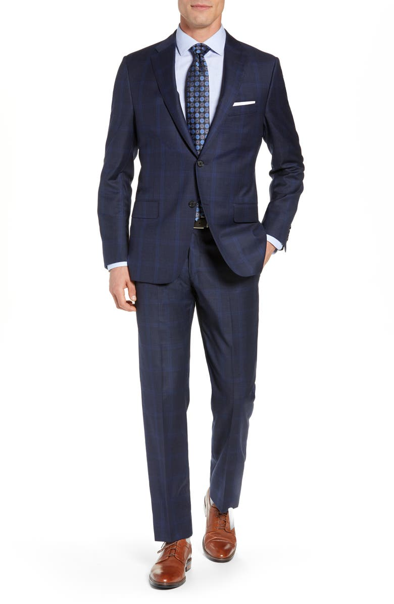 HICKEY FREEMAN Classic Fit Plaid Wool Suit, Main, color, NAVY