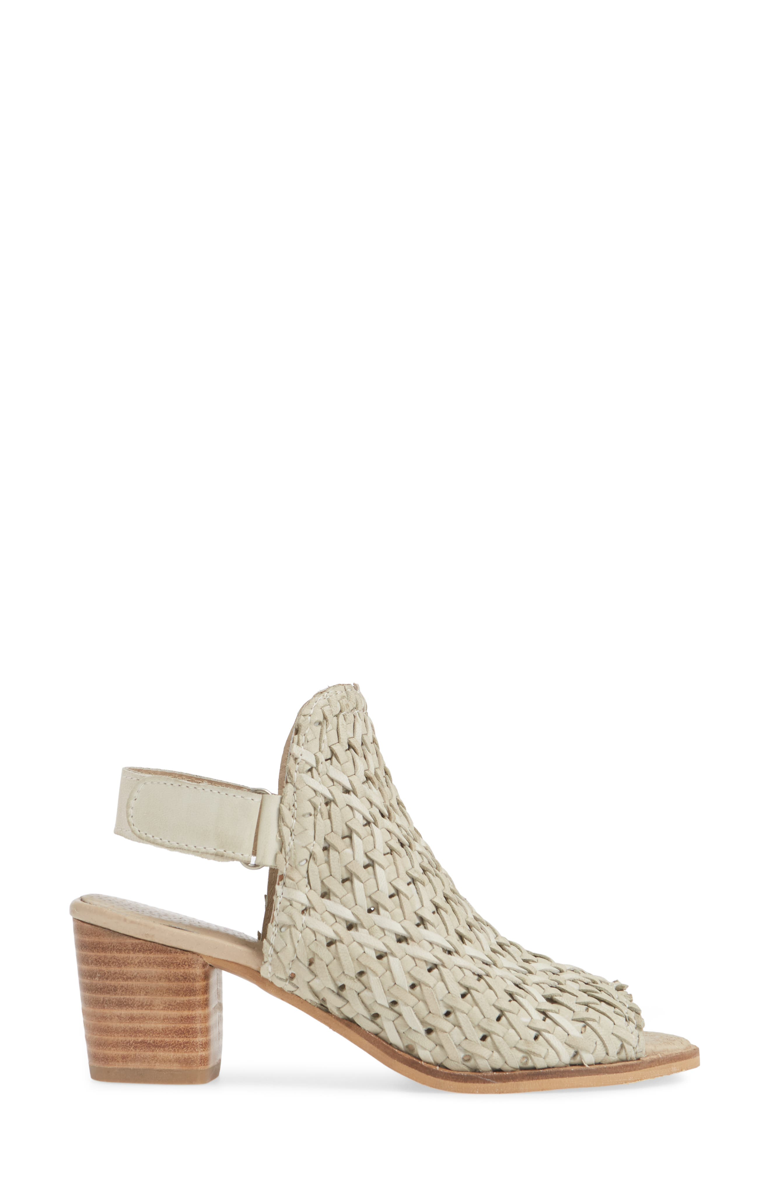 ,                             Veronique Woven Slingback Sandal,                             Alternate thumbnail 3, color,                             STONE LEATHER