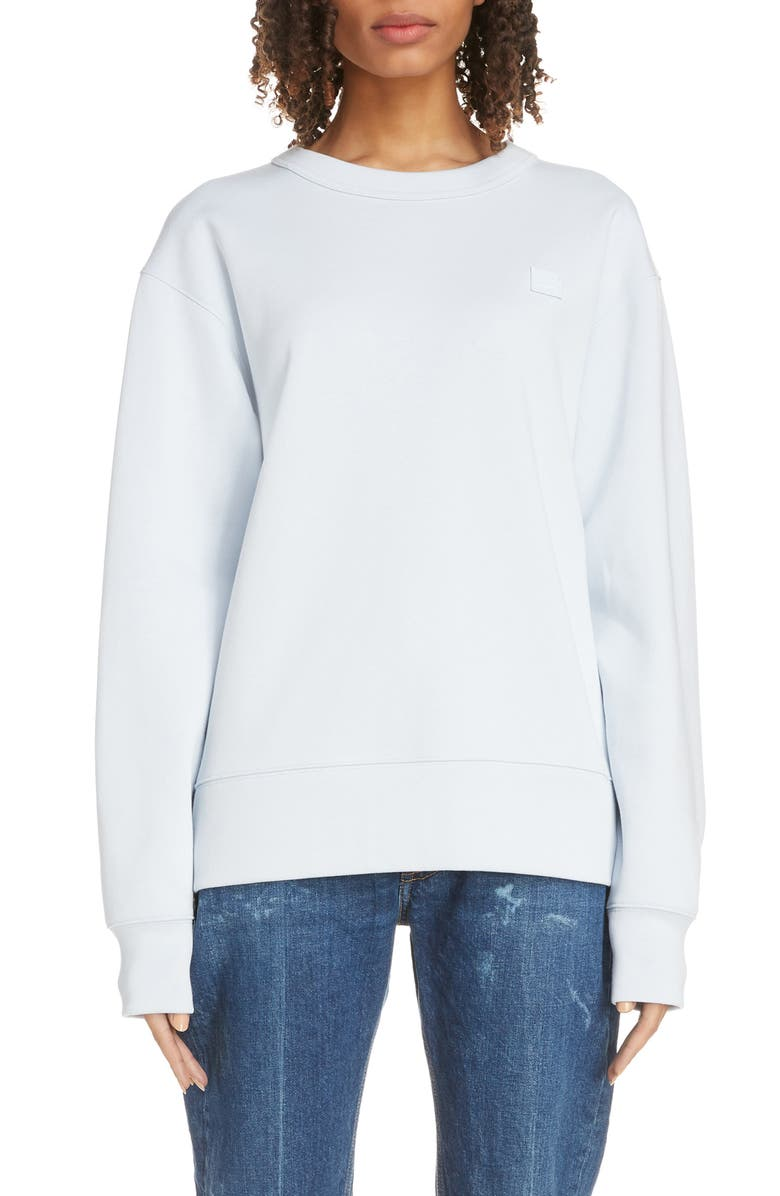 ACNE STUDIOS Fairview Face Sweatshirt, Main, color, ICE BLUE