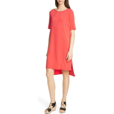 Petite Eileen Fisher Elbow Sleeve Shift Dress, Red