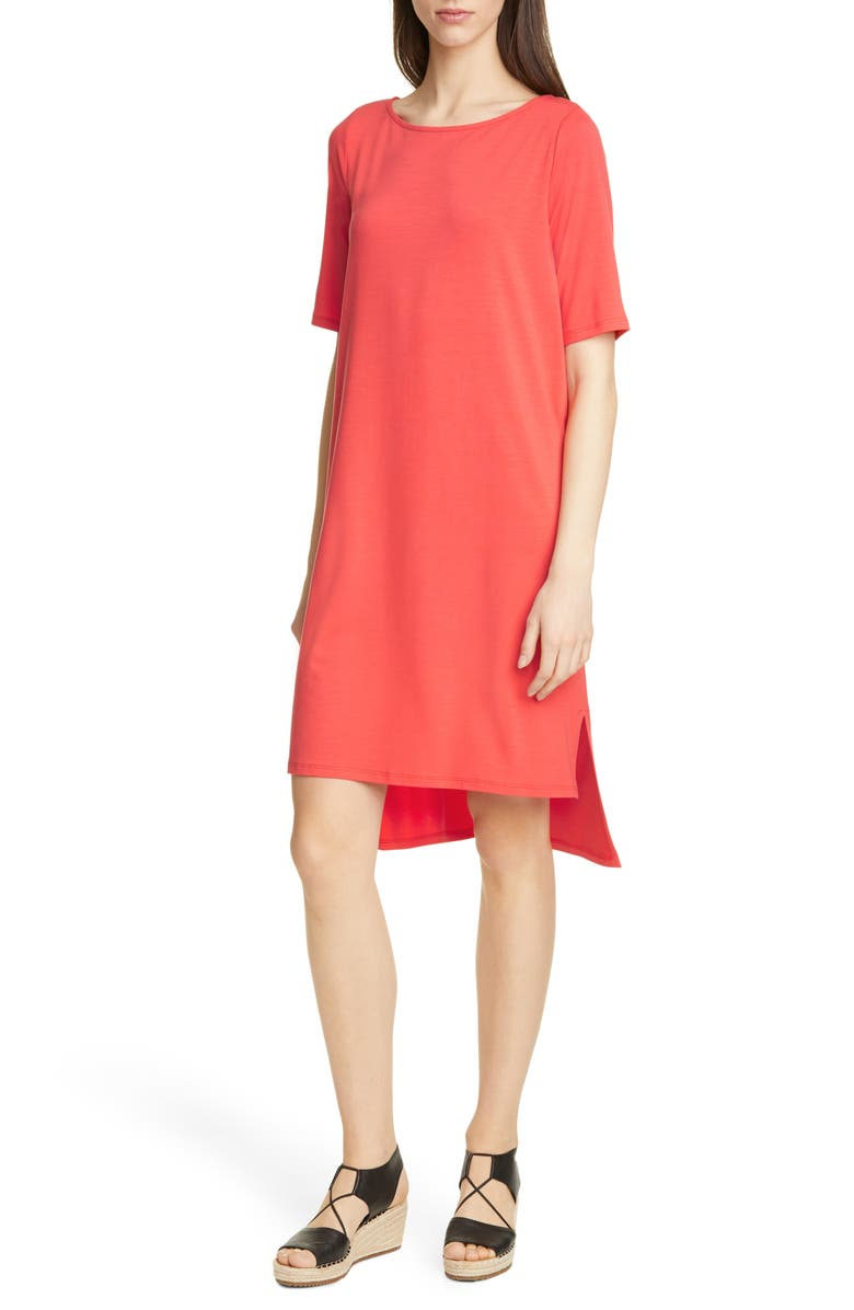EILEEN FISHER High/Low Shift Dress, Main, color, RED LORY