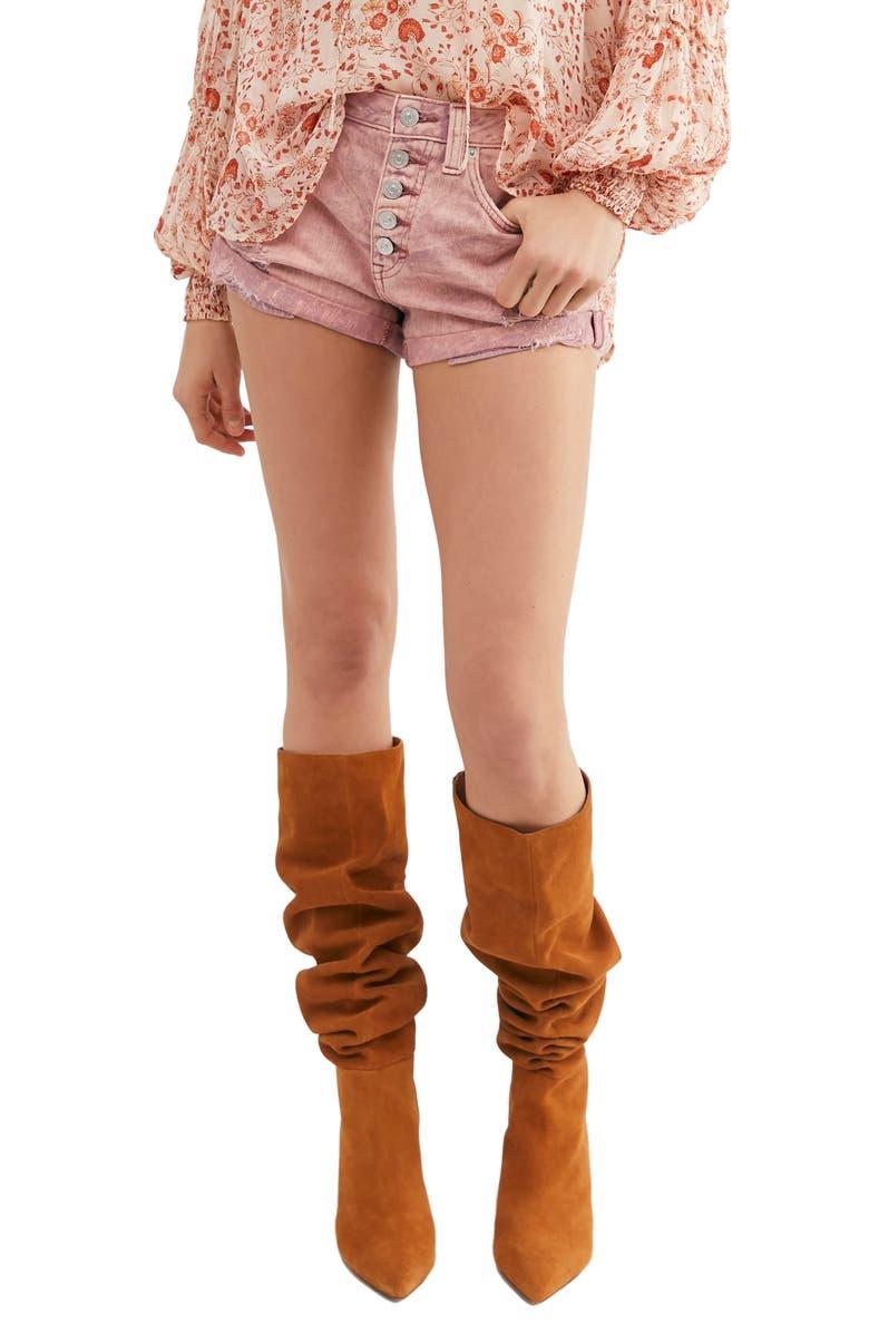 FREE PEOPLE Romeo Rolled Cutoff Denim Shorts, Main, color, MAUVE COMBO