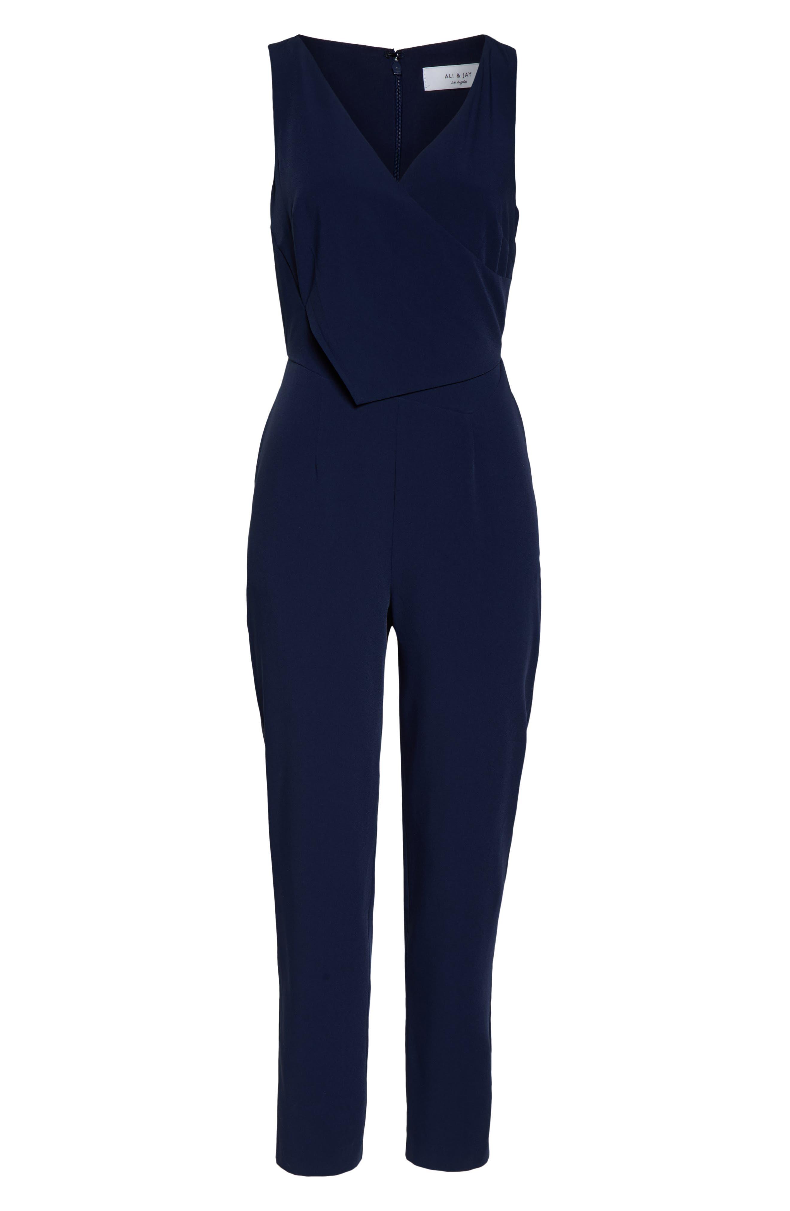 ,                             Sleeveless Slim Leg Asymmetrical Jumpsuit,                             Alternate thumbnail 7, color,                             NAVY