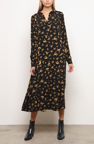Floral Print Crepe Long Sleeve Midi Dress, video thumbnail