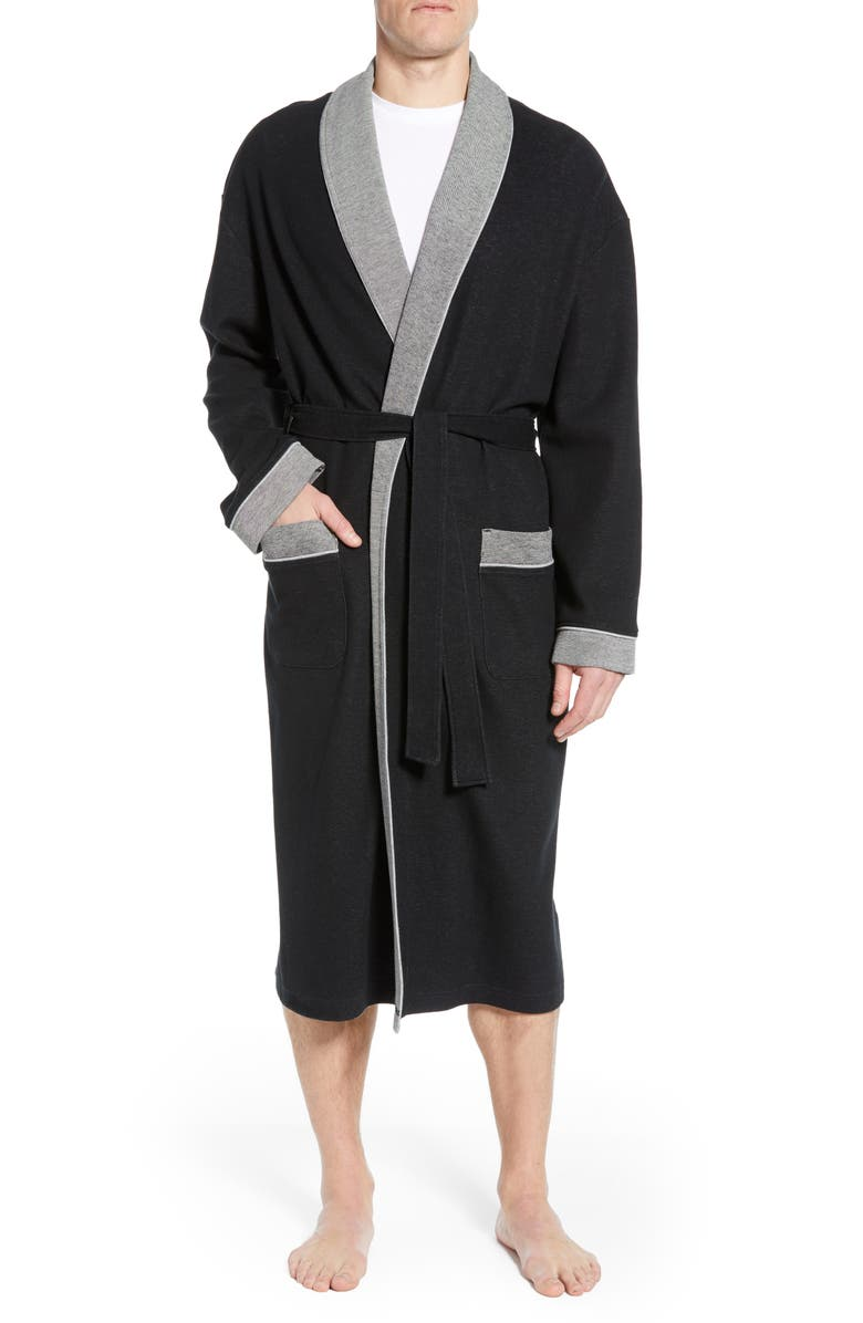MAJESTIC INTERNATIONAL Sutherland Nova Knit Cotton Blend Robe, Main, color, BLACK