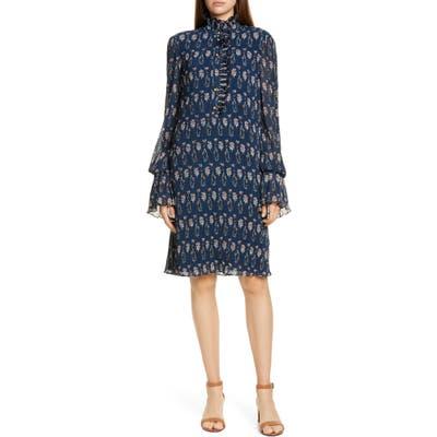 Tory Burch Deneuve Floral Print Long Sleeve Shift Dress, Blue