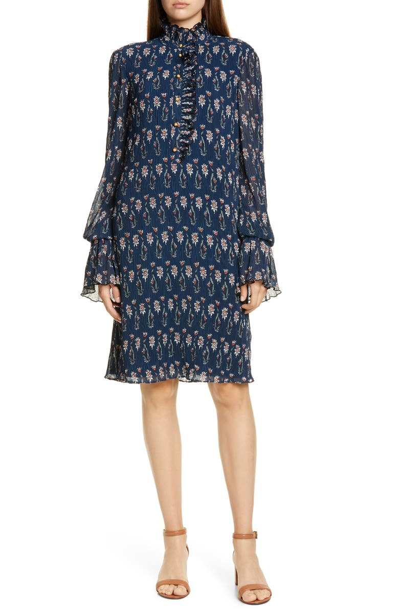 TORY BURCH Deneuve Floral Print Long Sleeve Shift Dress, Main, color, NAVY WOODBLOCK FLORAL