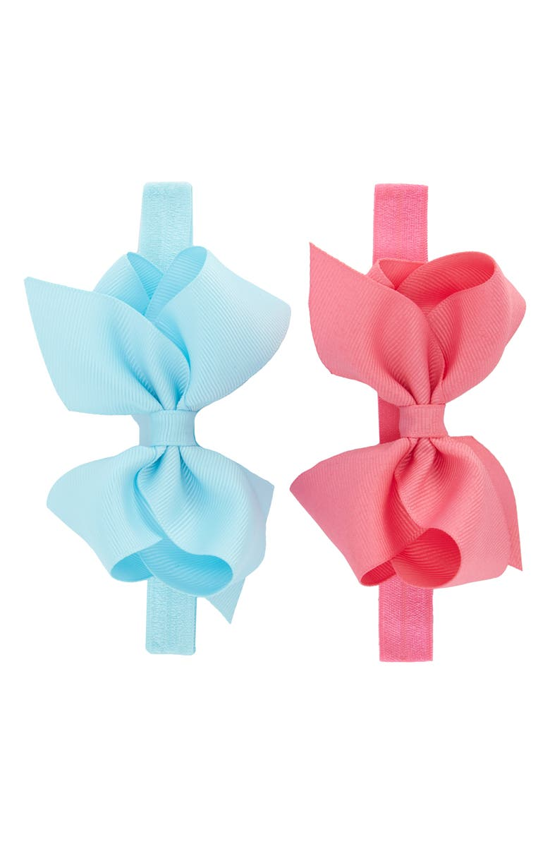 PLH BOWS 2-Pack Grosgrain Bow Headbands, Main, color, BLUE/ HOT PINK