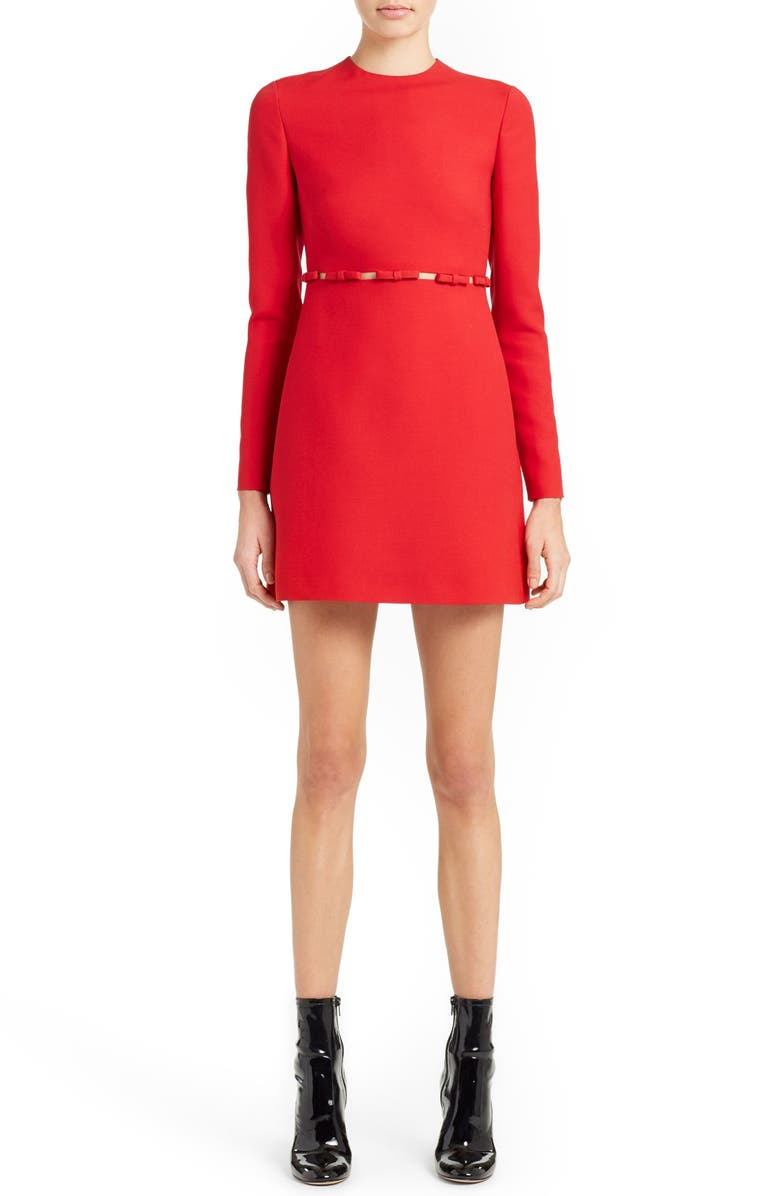 VALENTINO Bow Detail Crepe Couture Dress, Main, color, 610