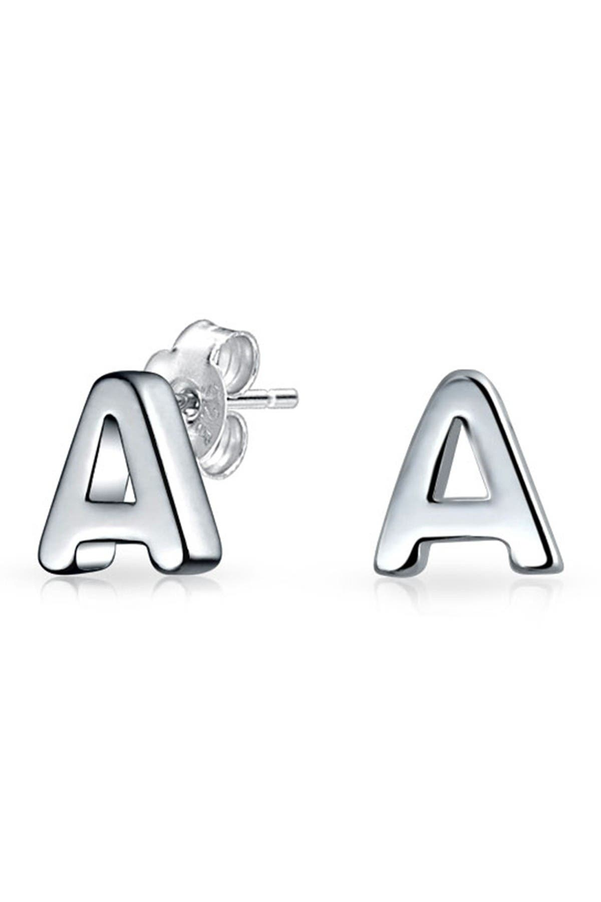 Image of Bling Jewelry Sterling Silver Capital Block Alphabet Letter Earrings