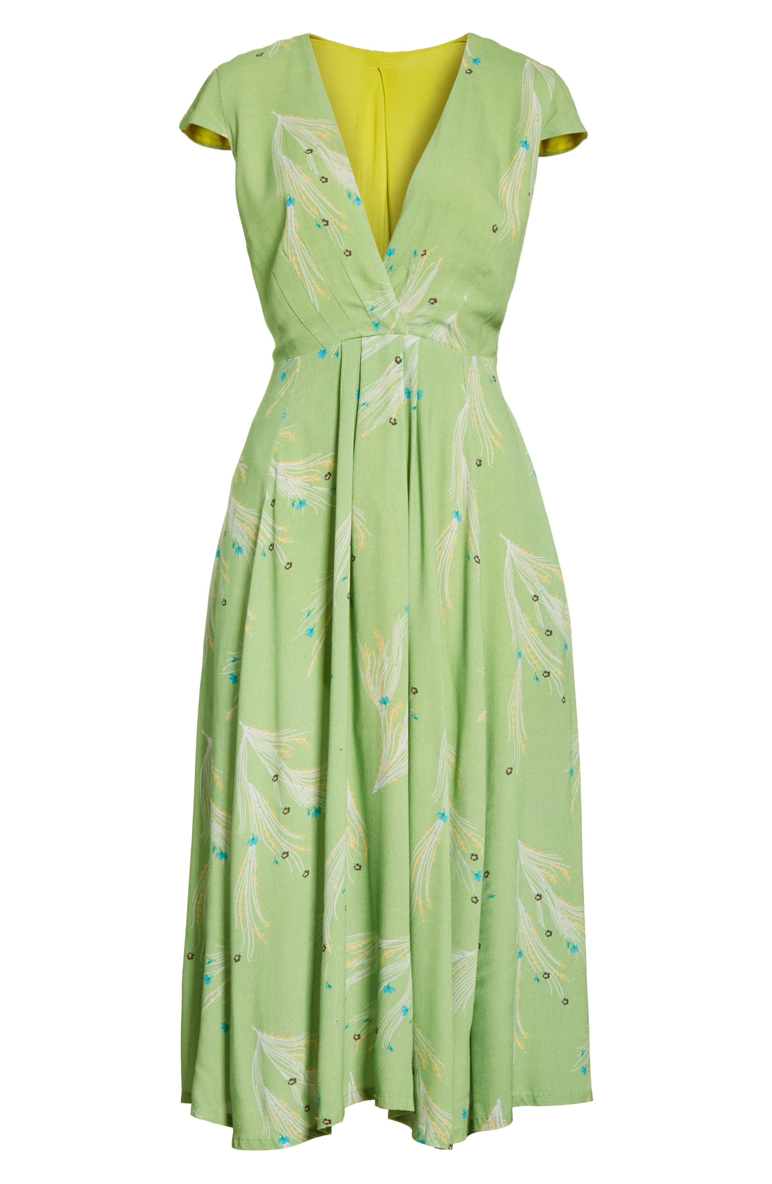 ,                             Print Retro Midi Dress,                             Alternate thumbnail 7, color,                             300