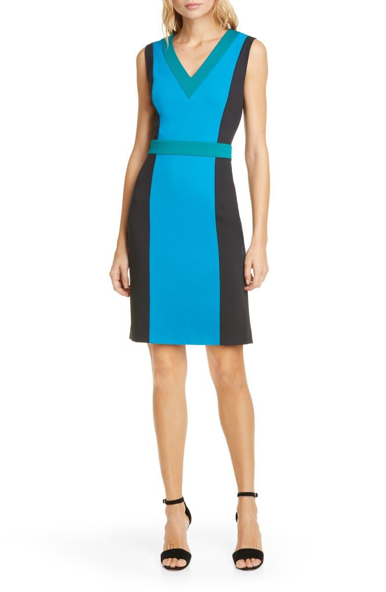 DVF Arbor Colorblock Sheath Dress, Main, color, NEW COAST/ BLACK/ EVERGREEN