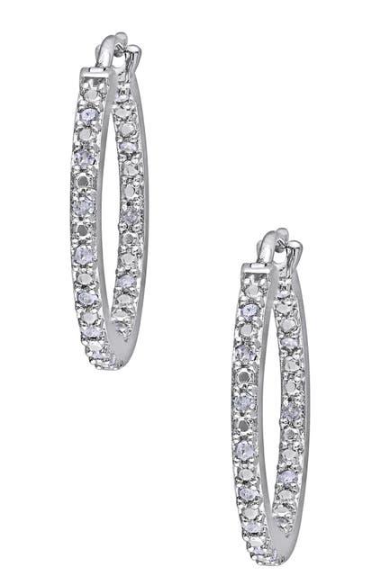 Image of Delmar Sterling Silver Pave Diamond Hoop Earrings - 0.25 ctw