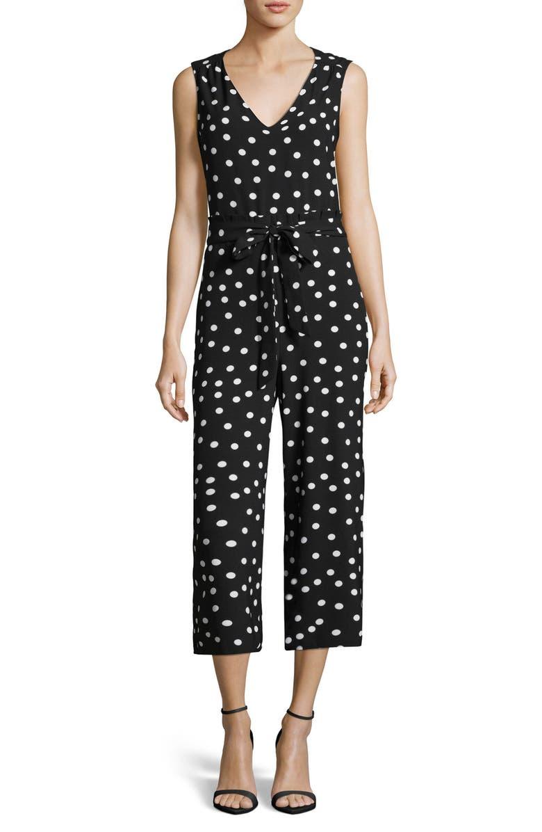 ECI Polka Dot Paperbag Waist Jumpsuit, Main, color, Black