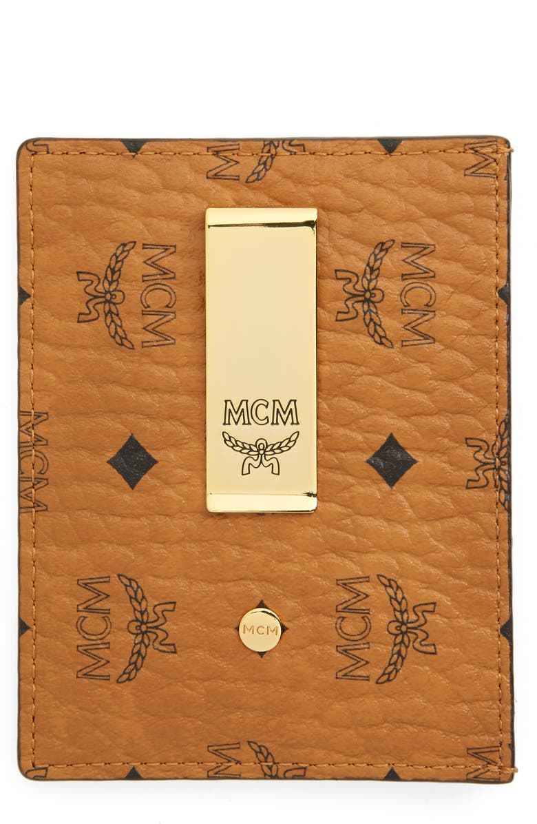 MCM Visetos Mini Money Clip, Main, color, COGNAC