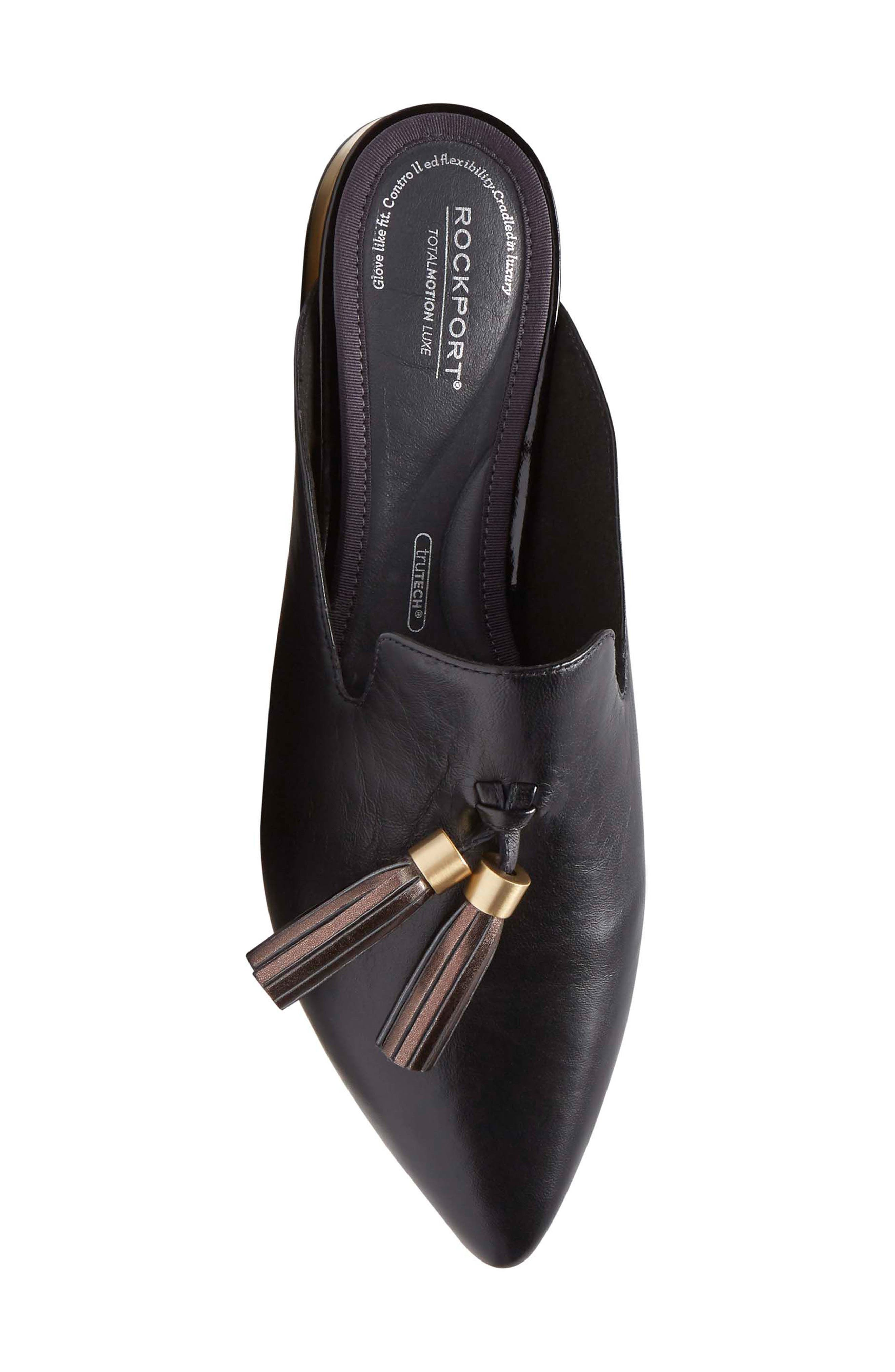 ,                             Total Motion Zuly Tassel Mule,                             Alternate thumbnail 5, color,                             BLACK LEATHER