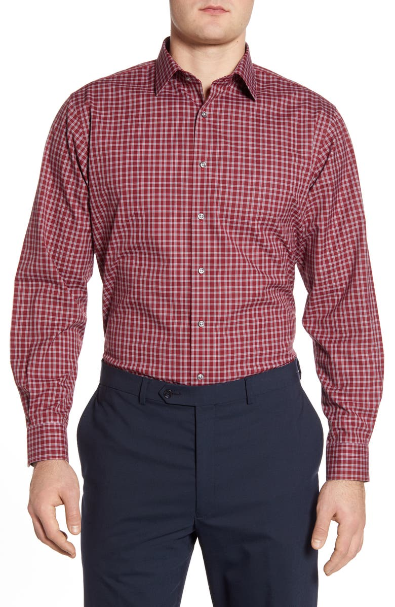 NORDSTROM MEN'S SHOP Traditional Fit Non-Iron Check Dress Shirt, Main, color, RED SUN