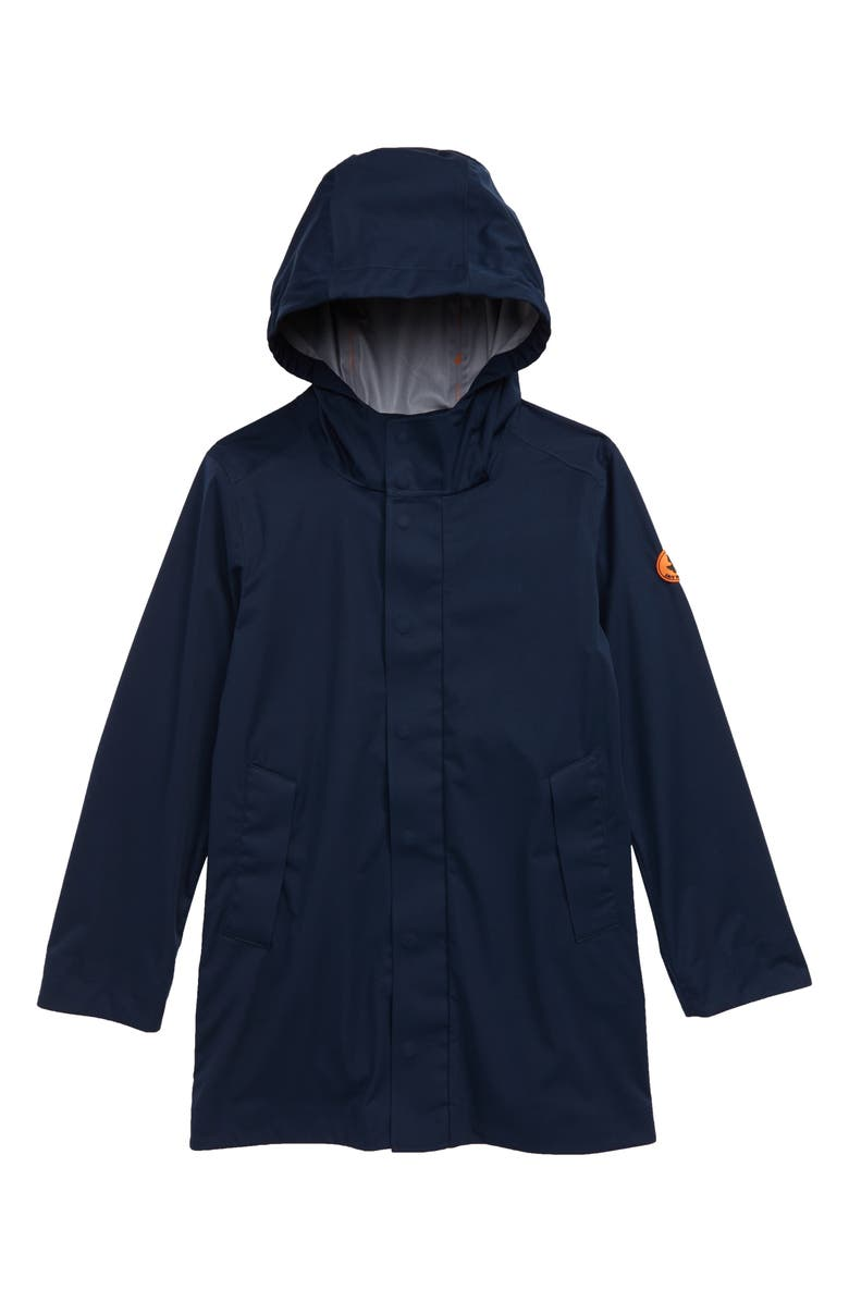 SAVE THE DUCK Hooded Rain Jacket, Main, color, NAVY/ 09