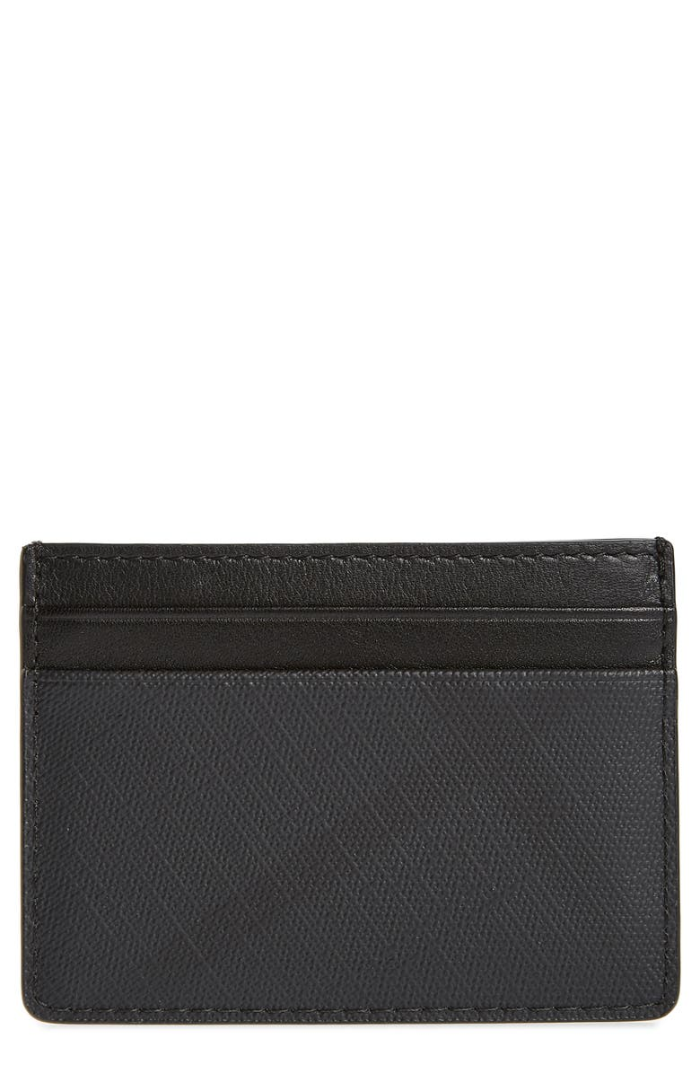 BURBERRY Sandon London Check Card Case, Main, color, DARK CHARCOAL